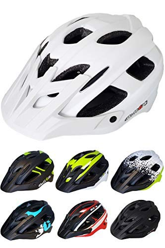 Skullcap® Fahrradhelm ♦ MTB Helm ♦ Mountainbike Helm ♦ Herren & Damen ♦ Schwarz/Neon-Grün matt ✚ Helm mit Visier und Schild (White mat, M (55-58 cm))