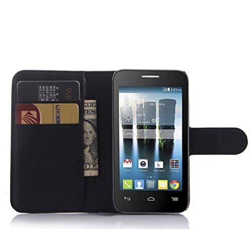 Manyip Téléphone Coque - PU Cuir rabat Wallet Housse [Porte-cartes] multi-Usage Case Coque pour pour Alcatel One Touch Evolve OT4037 Classique Mode affaires Style(JFC2-1) H