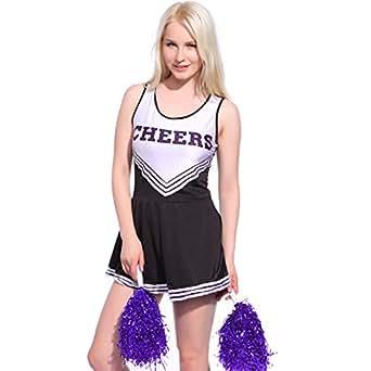 Schwarz-Weiss Gr.XL Cheerleader Kostuem Uniform Cheerleading Cheer Leader Pompom Minirock GOGO Karneval Fasching
