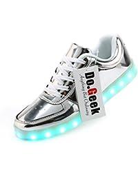 DoGeek Unisex 7 Colors USB Carga LED Zapatos Luz Luminosas Flash Zapatillas de Deporte Para Hombres Mujeres Blanco