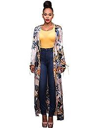 CHENGYANG Femmes Loose Floral Print Chiffon Kimono Cardigan Shawl Long Cover Up Blouse