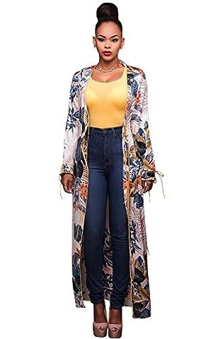 Veste Kimono Femme - CHENGYANG Femmes Loose Floral Print Chiffon Kimono
