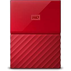 WD - My Passport - Disque dur externe portable USB 3.0 avec sauvegarde automatique et sécurisation par mot de passe - 1To, Rouge