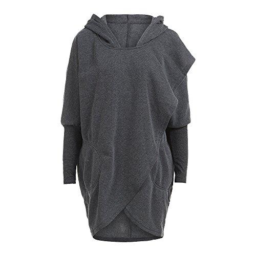 Vertvie Femme Sweat-Shirt Capuche Manches Chauve-Souris Top Cape Blouse Pullover Croisé Casual Gris Foncé
