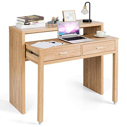 COSTWAY Schreibtisch mit 2 Schubladen, Computertisch, Konsolentisch, Bürotisch PC-Tisch, Holzschreibtisch, Arbeitstisch Natur
