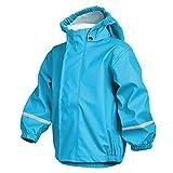 smileBaby Wasserdichte Kinder Regenjacke Regenmantel mit Abnehmbarer Kapuze Unisex in Hellblau 80
