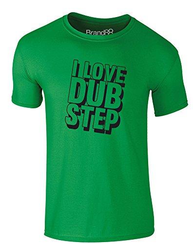 Brand88 - I Love Dub Step, Erwachsene Gedrucktes T-Shirt Grün/Schwarz