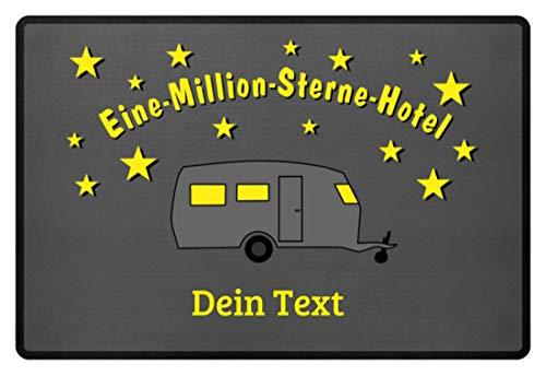 Wohnwagen Camping - Eine MIllion Sterne Hotel - Fußmatte -60x40cm-Mausgrau