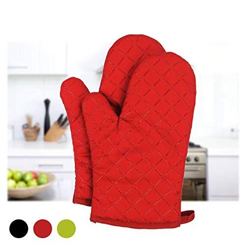 Dualeco hitzebeständige, rutschfeste Küchenhandschuhe aus Baumwolle, Gesteppte Ofenhandschuhe mit Silikon, Handschuhe zum Kochen, Grillen, Backen, Grillen, Topflappen, 1 Paar, Einheitsgröße, rot - Silikon-grillen-handschuhe