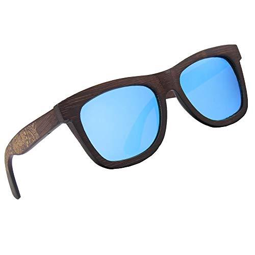 LY4U marco de bambú lleno polarizado para hombre y para mujer de bambú Gafas de sol revestidas de madera clásico, gafas vintage, gafas de sol flotantes con caja de bambú