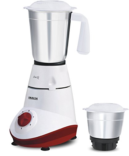 Inalsa Swift 500-Watt Mixer Grinder with 2 Jars (White and Red)  available at amazon for Rs.1400
