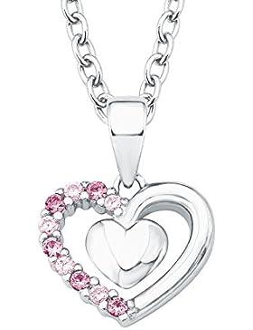 Prinzessin Lillifee Kinder-Kette Mädchen 35 + 3cm längenverstellbar mit Anhänger Herz 925 Silber Zirkonia rosa...