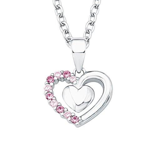 Prinzessin Lillifee Kinder-Kette Mädchen 35 + 3cm längenverstellbar mit Anhänger Herz 925 Silber Zirkonia rosa pink