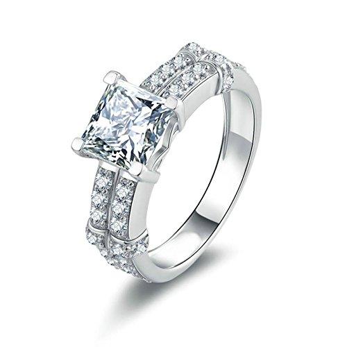 SonMo Ring 925 Silber Trauringe Eheringe Heiratsantrag Ring Solitär Weiß Ringe mit Diamant Prinzess Zirkonia Ringe für Frauen Größe 60 (19.1)