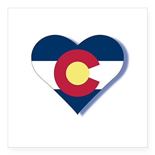CafePress - Colorado Flag Heart Square Sticker 3