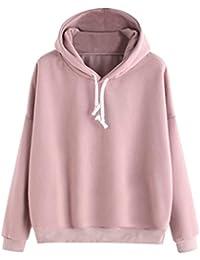 4dfe4e9d7eda Amlaiworld Sweatshirts Damen einfarbig Langarmshirt warm Mode Herbst Pulli  Freizeit M dchen locker elegant Sweatshirt