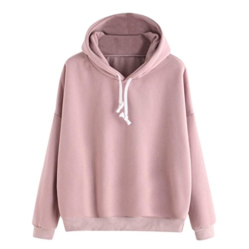 Amlaiworld Sweatshirts Damen einfarbig Langarmshirt warm Mode Herbst Pulli Freizeit M?dchen locker elegant Sweatshirt Tops Sport Outdoor Pullover (XL, Rosa)