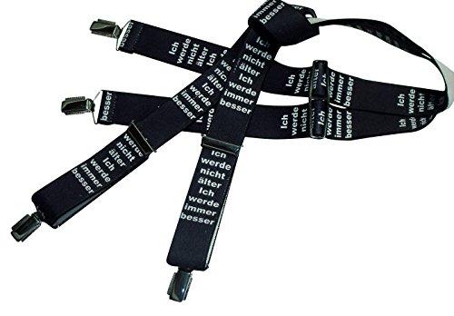 Schwarz-weiße Hosenträger mit Spaßtext | Ich werde nicht älter- ich werde immer besser | Damen und Herren | One Size 120 cm | Anzug-Hosenträger | Arbeitskleidung-Hosenträger | Teichmann (Träger Für Motorrad)