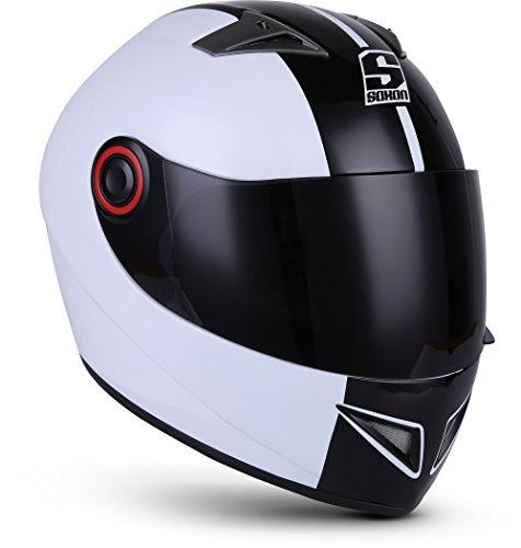 SOXON ST-666 Deluxe White Black · Integral-Helm Roller-Helm Cruiser Urban Scooter-Helm Sturz-Helm Helmet Sport Motorrad-Helm · ECE zertifiziert · inkl. Sonnenvisier · inkl. Stofftragetasche · Weiß · L (59-60cm)