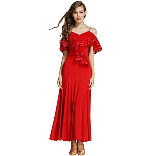 RJ Kleid National Standard Ballroom Dance Dress großes Lotusblatt Kostüm, Moderne professionelle Praxis glatten Rock (Color : Red, Size : - Chinesischen Nationalen Kleid Kostüm