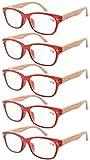 Eyekepper pack de 5 primavera bisagra vetas de madera impresos brazos gafas de lectura 1.75