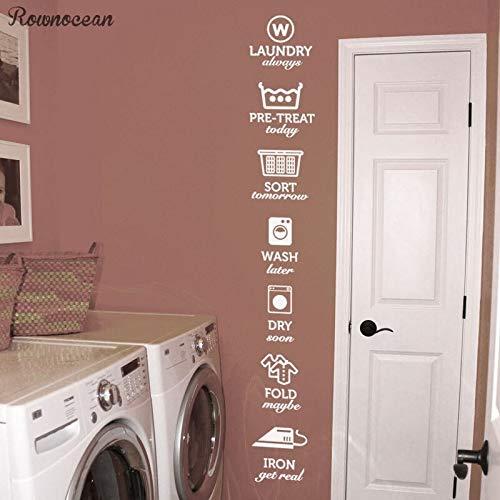 Die Regeln der wäsche Aufkleber, wäsche Tag Aufkleber Muster, waschen trocken Falten Eisen wäscheraum Vinyl Wand Zitat Aufkleber Aufkleber 2 1 * 146 cm