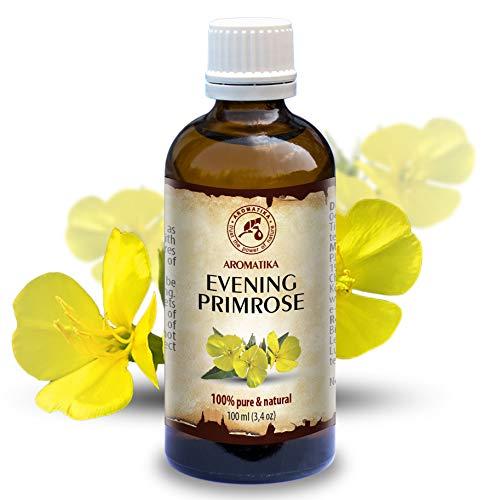 Nachtkerzenöl 100ml - Oenothera Biennis Oil - Kaltgepresst & Raffiniert - 100% Rein & Natürlich - Besten Pflege für Gesicht - Körper - Massage - Wellness - Kosmetik - Glasflasche -