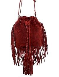 6733a602adace BACCINI® Schultertasche SANDRA - Damen Umhängetasche klein Ledertasche -  Handtasche mit Fransen Damentasche echt…
