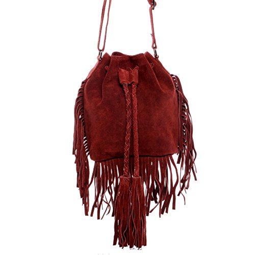 BACCINI® sac porté à l'épaule SANDRA - petit Sac bandoulière avec frange - sac pour dames sac femme bordeaux sac cuir véritable