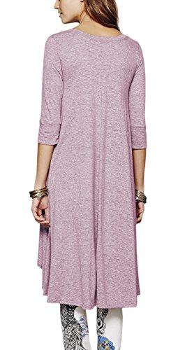 Urban GoCo Femme Chemise 3/4 Manches Longue Tunique Mini Robe Col Boutonné T-Shirt Tops Irrégulière Blouse Violet