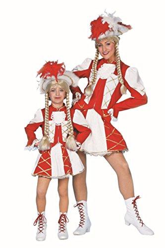 Kostüm Garde Kind Hexe - Wilbers Garde Kinder Kostüm Tanzmariechen weiß-rot Karneval Fasching Gr.140