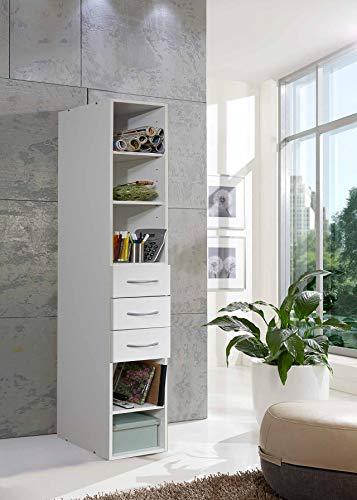 3-schubladen-bücherregal (lifestyle4living Regal in weiß mit 3 verstellbaren Böden und 3 Schubladen, schmales Bücherregal mit viel Stauraum, ca. 30 cm breit, universell einsetzbar)