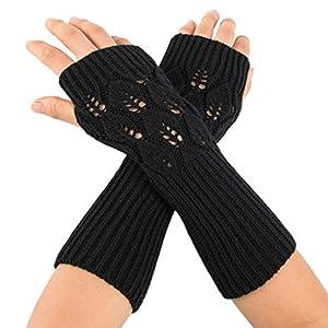 ☺HWTOP Damen Winter Handgelenkwärmer Rhombus Gestrickte Fingerlose Handschuhe Mitten Fäustlinge Gest Armmanschette