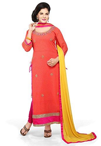 Utsav Fashion Printed Straight Cut Suit In Peach Color