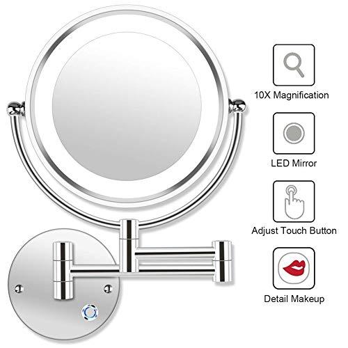 MRJ 8.5inch Kosmetikspiegel 10-Fach mit Beleuchtung LED Wandmontage Touchscreen Dimmbarer aus Kristallglas, Edelstahl und Messing für Badezimmer, Kosmetikstudio, Spa und Hotel EU Plug (Vergrößerungsspiegel Wandhalterung)