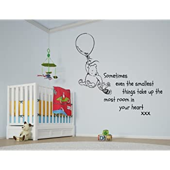 Vu0026C Designs Ltd (TM) Winnie The Pooh Sometimes The Smallest Things Girls  Room Boys Room Baby Nursery Large Statement Wall Sticker Decal Mural Vinyl  Art Part 78