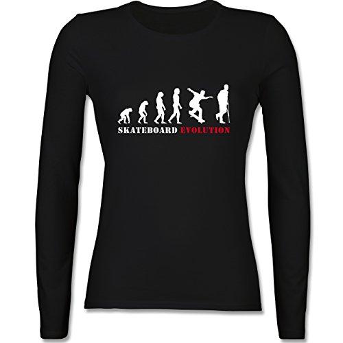 Evolution - Skateboard Evolution - tailliertes Longsleeve / langärmeliges T-Shirt für Damen Schwarz