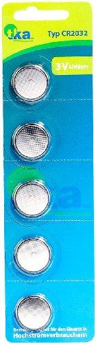 tka Köbele Akkutechnik Batterien CR2032: Lithium-Knopfzellen CR2032 (BIOS-Zelle), 3 Volt, im 5er-Sparpaket (Batterien 2032)