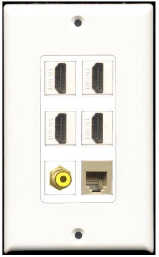 RiteAV-4-Port HDMI-1RCA gelb 1RJ11, RJ12, beige Wall Plate Dekorative 4 Port, Single Gang Keystone