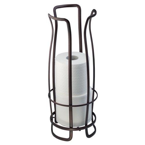 InterDesign Axis Toilettenpapierhalter | freistehender WC Rollenhalter für Reserverollen | rostfreier Klorollenhalter für 3 Ersatzrollen | Metall bronze