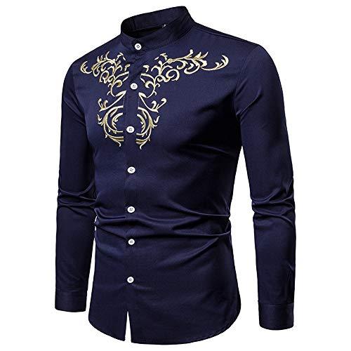 Susulv-MCL Männer Shirt Herren Hipster Gold Stickerei Stehkragen Slim Fit Tops Revers Kragen Langarm Button Down Gentleman Shirt Freizeithemden (Farbe : Navy blau, Größe : XXL) -