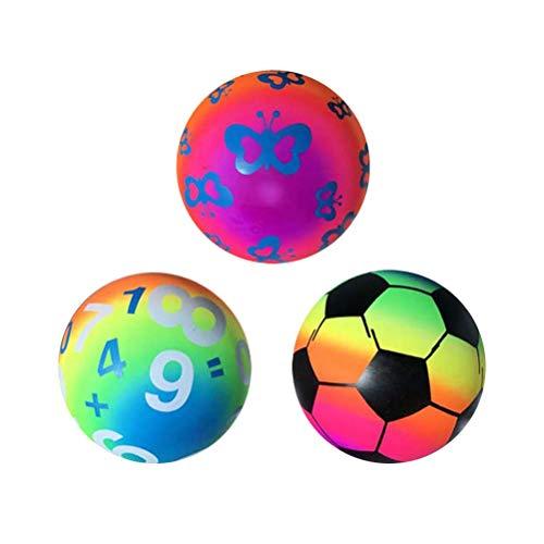 LIOOBO 3pcs Rainbow Beach Balls, aufblasbare Strand-Sport-Spiel-Spielzeug-Handball-Spielzeug (gemischtes Muster) (Rainbow Beach Ball)