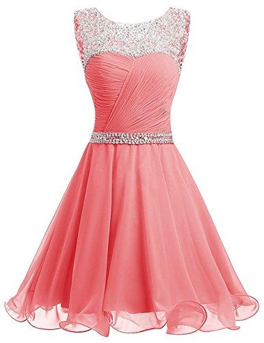 La_mia Braut Damen Wassermelon Chiffon Pailletten Kurzes Jugendweihe Kleider Abendkleider Partykleider Festlichkleider-36 Wassermelon (Pailletten-chiffon-kleid)