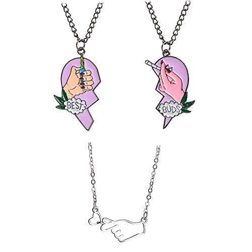 Mingjun 3 Stück Herz-Anhänger Halskette Best Buds Print Zigarettenanzünder teils Hand Liebe Herz Geste Anhänger Halskette für Frauen Mädchen