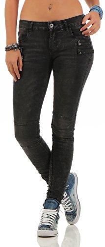 Lexxury Damen Boyfriends Baggy Stretch Jeans destroyed Look Damenhose...