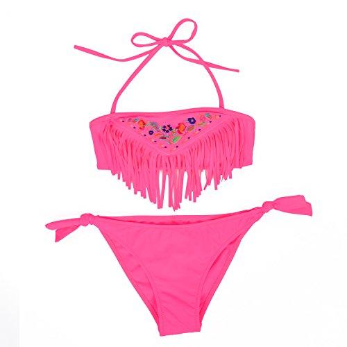 IPBEN Kleinkinder Baby Mädchen Quaste Badekleidung Schwimmanzug Bikini Sets, Gr.-6-8 Jahre/ Etikettengröße- 140, Rot