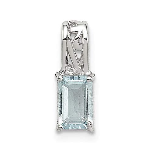 Diamond2Deal Damen 925Sterling Silber rhodiniert Vergoldet Aquamarin Rechteck Anhänger