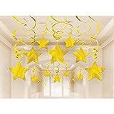 amscan Hängende Partydekoration, Wirbel mit Sternen, goldfarben - 3