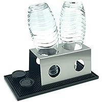 Abtropfhalter 2.0 aus Edelstahl für z.B. Soda-stream Crystal/Source / Easy/Cool Flaschen Flaschenhalter wählbar mit Abtropfmatte Abtropfschale