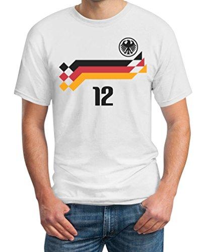 Deutschland Fussball Retro Trikot WM 1990 Cooles Fanshirt für EM 2016 T-Shirt XXXXX-Large Weiß